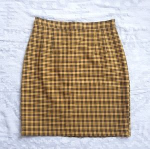 Vtg Yellow/Black Plaid Pencil Skirt